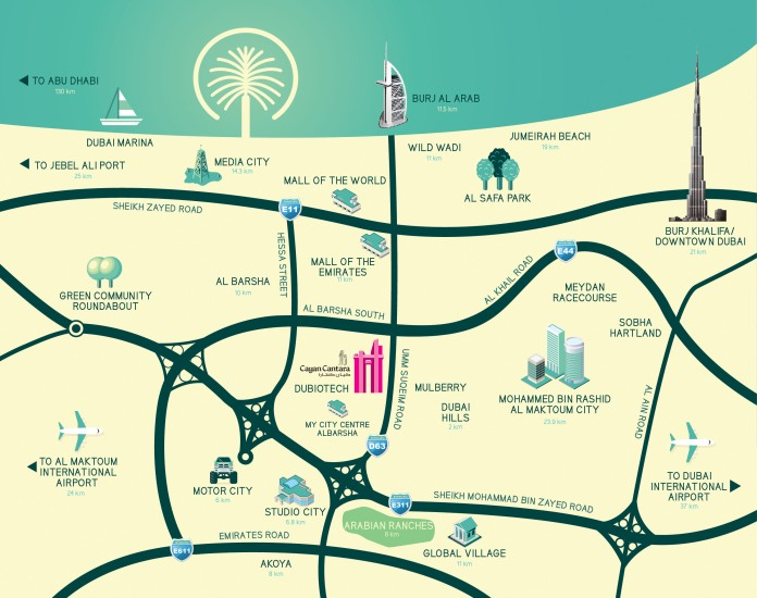 Cayan Cantara - Mapa Dubai - Emirados Árabes Unidos